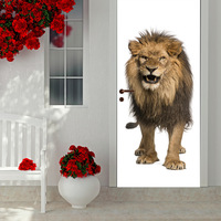 3D Animal Lion Door Wall Sticker Vinyl Art Decal Home Decor Kids Room PVC Self Adhesive Mural MT028