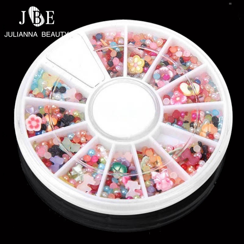 3 Boxes Lot Shiny Acrylic Rhinestone Wheel Glitter Manicure Tips For Charms  3D Cute Flat Nail Art Decorations Jewelry On Nails d183b8a775fb