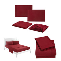 2019 New Wine Red Solid Color Simple Series Bedding Sheets Bed Pillowcase Four Sets high quality Soft to the touch L606