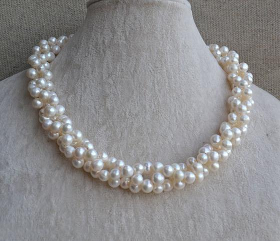 White Pearl Necklace,Twisted Pearls Jewellery,18 inches 7-8mm Natural Freshwater Pearl Necklace,Woman's Wedding Gift natural pearl necklace four strands pearl jewelry 18 inches 3 9mm white freshwater pearl necklace wedding party woman gift