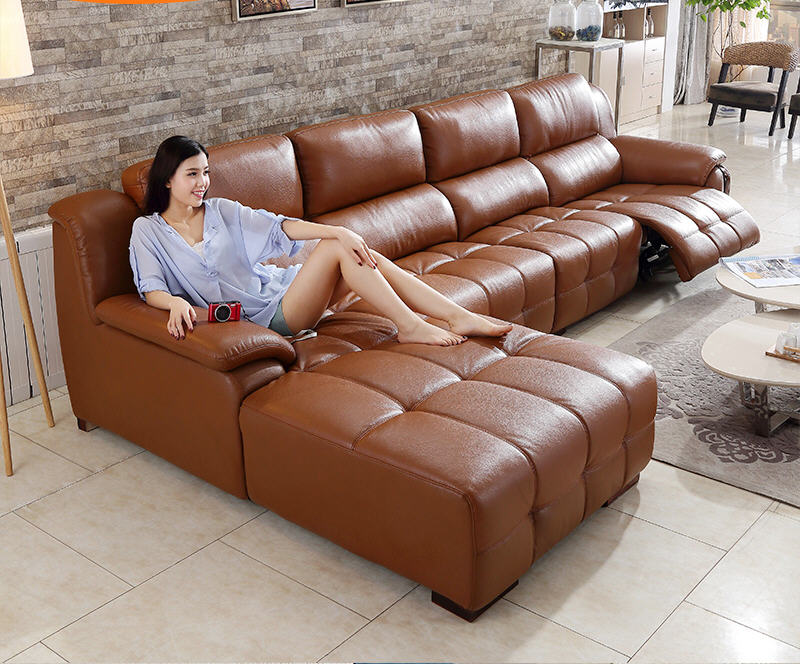 Real Genuine Leather Sofas Salon Couch