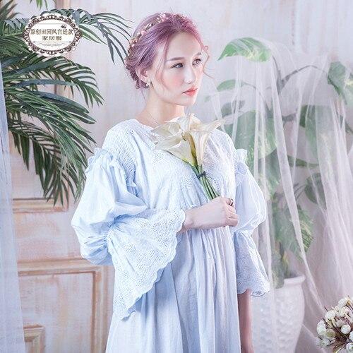 Nouveau femmes Vintage robe coton blanc princesse chemise de nuit dames Royal décontracté vêtements de nuit femmes robe de nuit Vestidos robe BLN1802