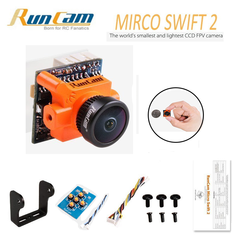 Runcam Micro Swift 2 Camera FPV 600TVL 2.1/2.3MM Lens 1/3 SONY Super HAD II CCD OSD DC 5-36V PAL for RC Multicopter Drone