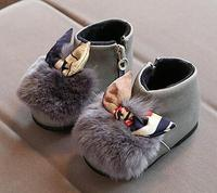 2017 Winter Newest Baby Princess Boot Cotton Padded Shoes Cowhide Rabbit Hair Bow Toddler Baby Shoes