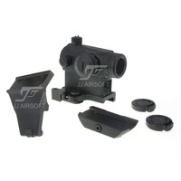 JJ Airsoft Micro 1x24 Red Dot, 45 Gradi Offset Monte, QD Riser Monte, basso Mount & Killflash/Uccidi Flash (Nero/Tan)
