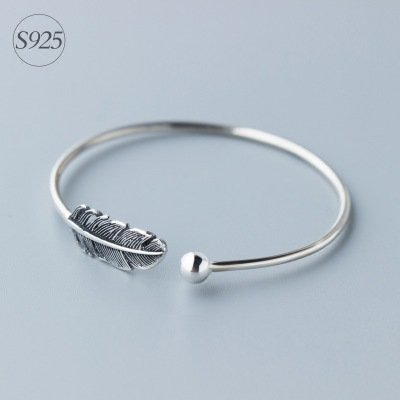 1pc Genuine 925 Sterling Silver Jewelry Lucky Bead & Feather Bird Angel Wing Cuff Bangle Bracelet Adjustable LS110