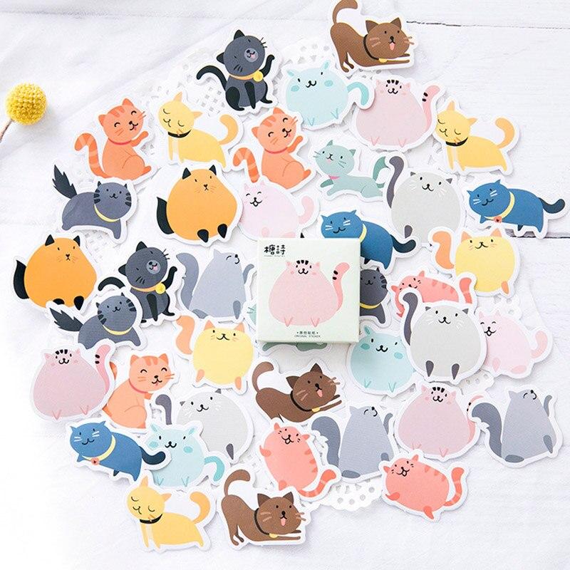45pcs/box Stationery Stickers Kawaii Chubby Cat Stickers Decorative Adhesive Cute Stickers Decorations Diary Albums Scrapbooking