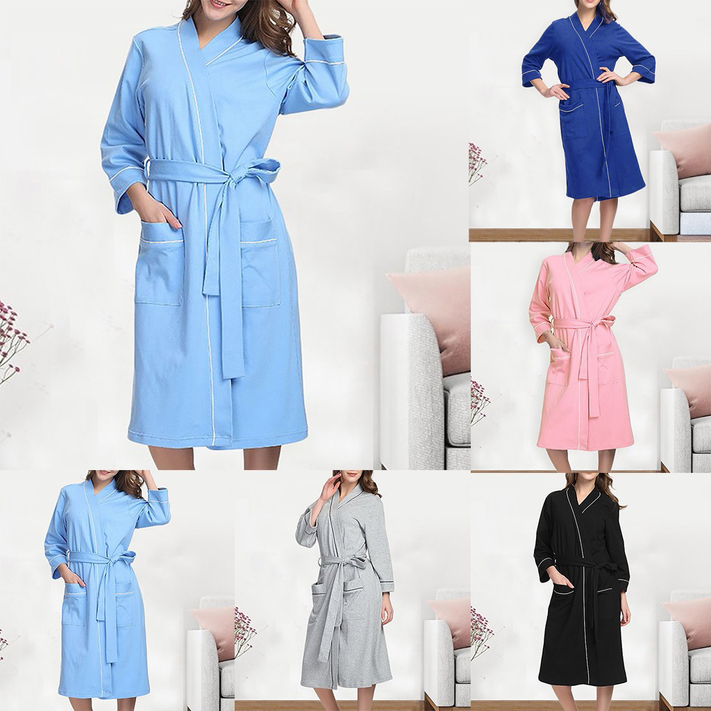 Night Clothes Women Casual Sleepwear Women Sexy Solid Women Summer Cotton Pajamas Nightgown Lingerie Bathrobe With Belt W422(China)