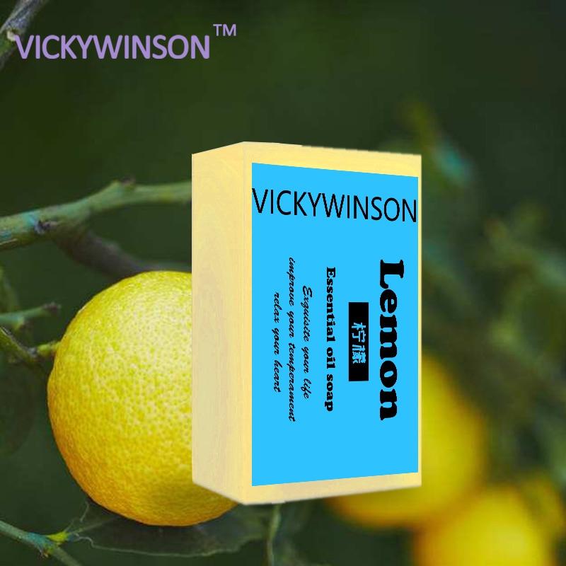 VICKYWINSON 100% Natural Lemon Oil Handmade Soap Skin Cleansing Wash Hair Acne Treatment Remove Whelk Shrink Pore 50
