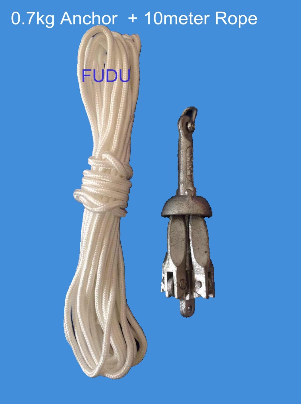 Folding Boat  Anchor 1.5 Lb 0.7 Kg Galvanized Iron with 10m rope