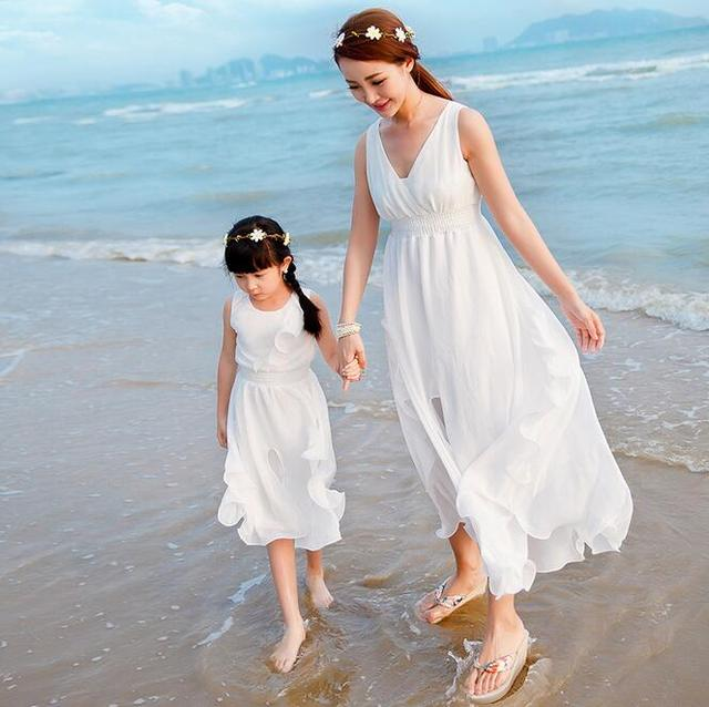 Summer Family Look Sleeveless Chiffon Dress Vestidos Infantil Beached Matching Mother Daughter Clothes Elegant Dresse For Girls