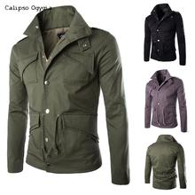 New Plus size M-4XL Mens Casual Army Military black Single breasted Jacket and Coat Calipso Ogygia COML13 Free shipping