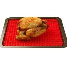 Rojo Hornear Pan Antiadherente Para Hornear de Silicona Moldes de Cojines de Las Esteras Cocina Estera Bandeja de Horno Para Hornear Hoja de Cocina Nuevo ZH01746
