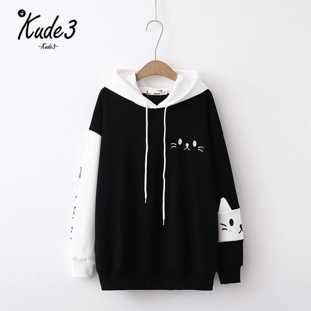 Japanese Anime Cat Kawaii Embroidery Sleeve Hoodie