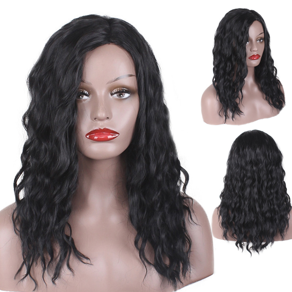 Women Lady Fashion Black Long Curly Wigs Wavy Hair Cosplay Party Wig for Black White Women 2U81202 golden brown long hair