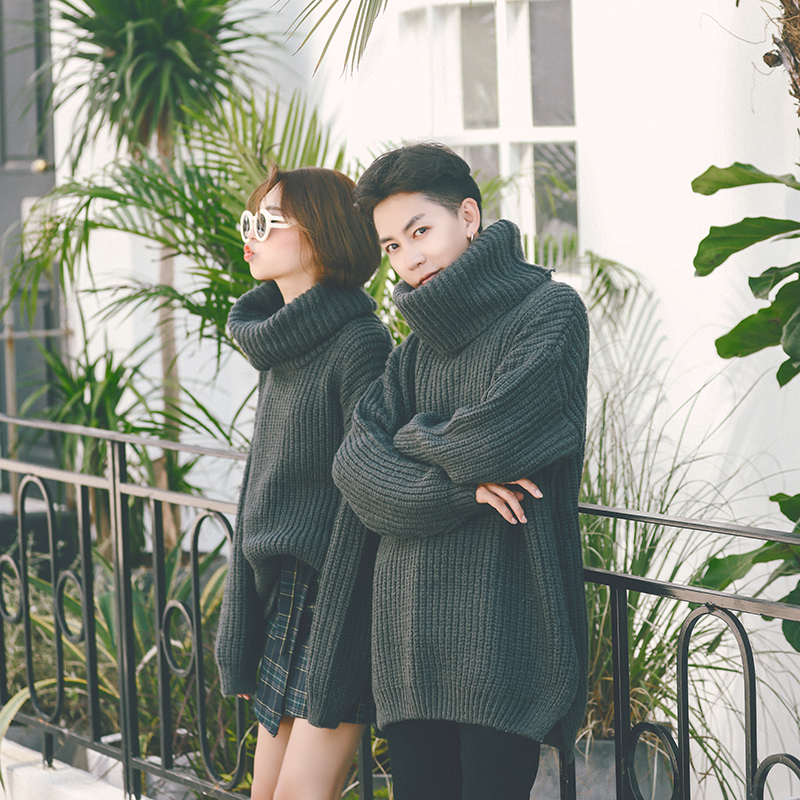 Privathinker Winter Man/Women Turtleneck Sweaters Baggy Warm