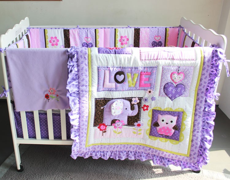Promotion! 7PCS Purple Baby <font><b>Bedding</b></font> Set Cartoon <font><b>Crib</b></font> <font><b>Bedding</b></font> Set for Girls Detachable Cot Set,(bumper+duvet+bed cover+bed skirt)
