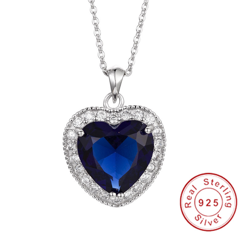 100% Wahr Luxus Wirklich 925 Sterling Silber Halskette Große 6ct Herz Blau Sapphire Cz Hochzeit Anhänger Halskette Für Frauen Schmuck Geschenk Geeignet FüR MäNner, Frauen Und Kinder