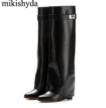 Mikishyda Silver Metal Shark lock Knee high Boots Women Designer Pointed Toe Leather Wedge increase Height High heel Shoes Woman
