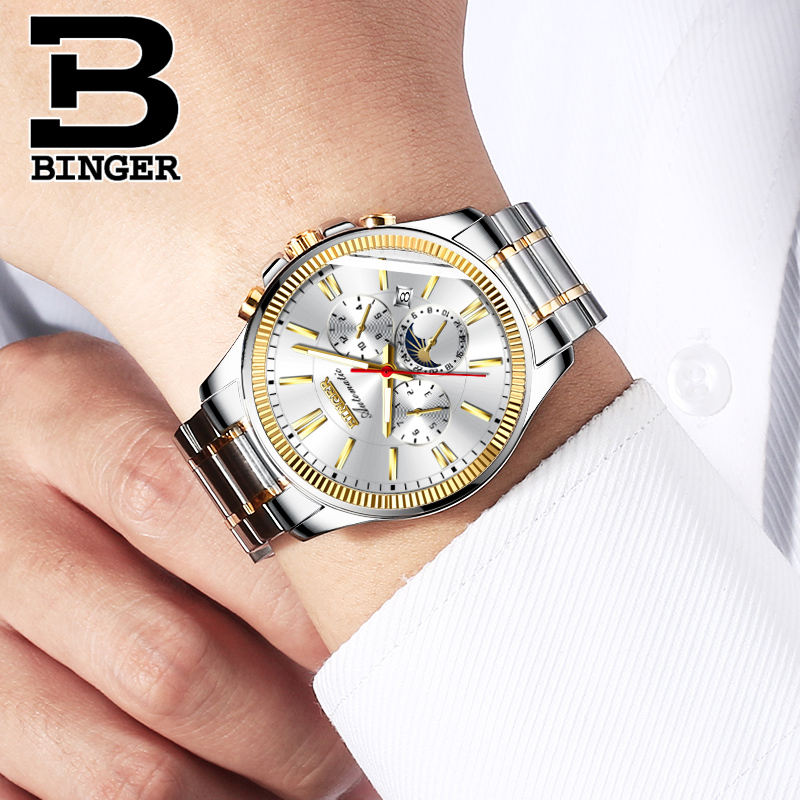 2018 Genuine Luxury BINGER Brand Men Self-wind waterproof full steel automatic mechanical male week month display fashion watch