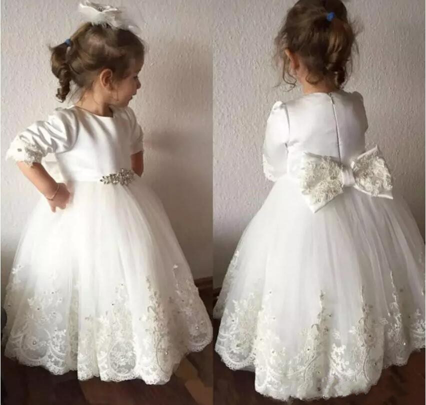 Cute White Ball Gown Flower Girl Dresses Jewel Neck 3/4 Long Sleeve Baby Girl Birthday Dress Christmas Gown with Bow купить в Москве 2019