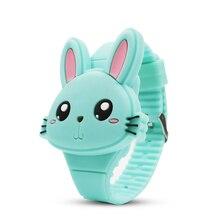 Cute Rabbit Cartoon Kids Watches Flip Cover Rubber LED Children Watch
