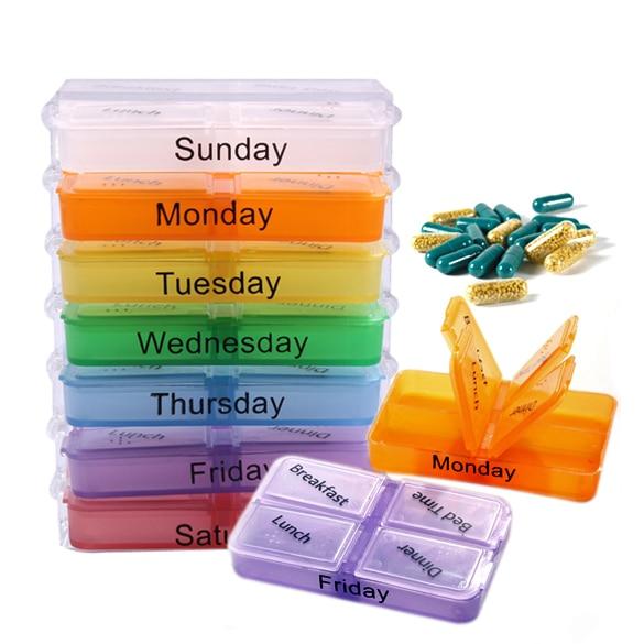 4 слота медицина Еженедельный хранения таблетки 7 день Планшеты сортировщик Box Контейнер Дело Организатор (разные цвета)
