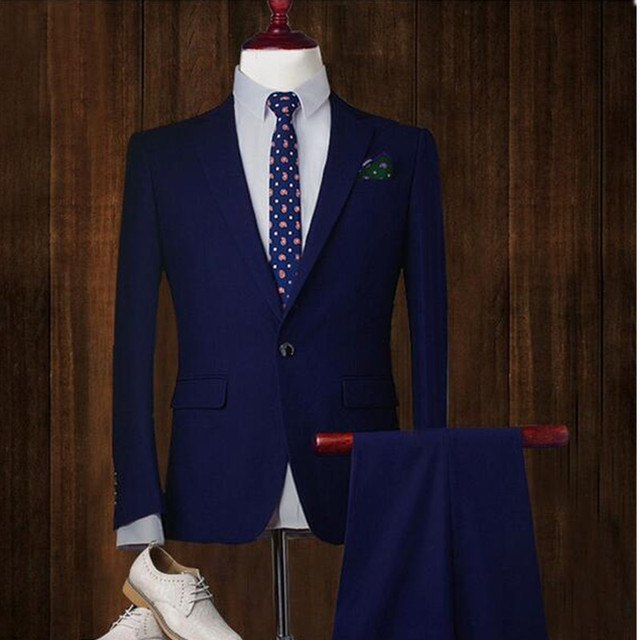 Fashion classic men's suit solid color lapel single-breasted men's wedding dress and business office suite (jacket + pants)