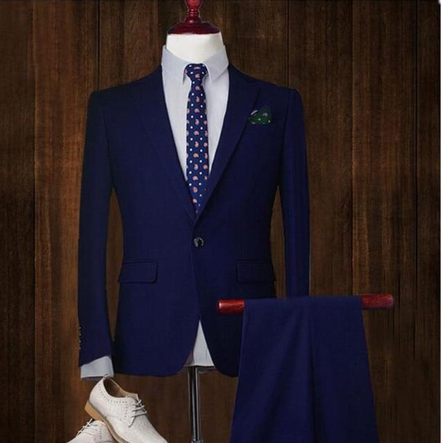 Fashion classic men's suit solid color lapel single-breasted men's wedding dress and business office suite (jacket + pants)