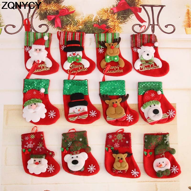 Us 1 17 33 Off 1pc 9 16cm Christmas Stockings Hanging Christmas Tree Decoration Ornaments New Year Candy Bag Gifts Socks Stocking Xmas Ornament In