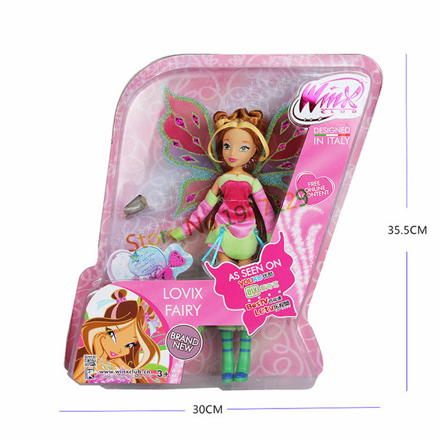 Lovix Fairy Winx Club Doll rainbow colorful girl Action Figures Dolls with Wings and Mysterious box Classic Toys For Girls Gift