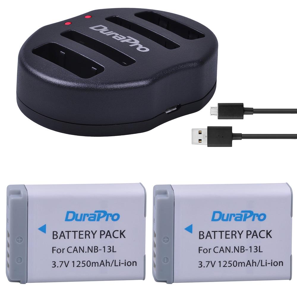 2pcs DuraPro NB 13L NB 13L NB 13L 1250mAh Rechargeable Li ion Battery USB Charger for