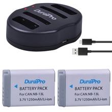 2 шт. DuraPro NB-13L NB 13L NB 13L 1250 мАч Перезаряжаемые литий-ионный Батарея + USB Зарядное устройство для Canon G5X G7X G9X g7 X Mark II SX720 HS