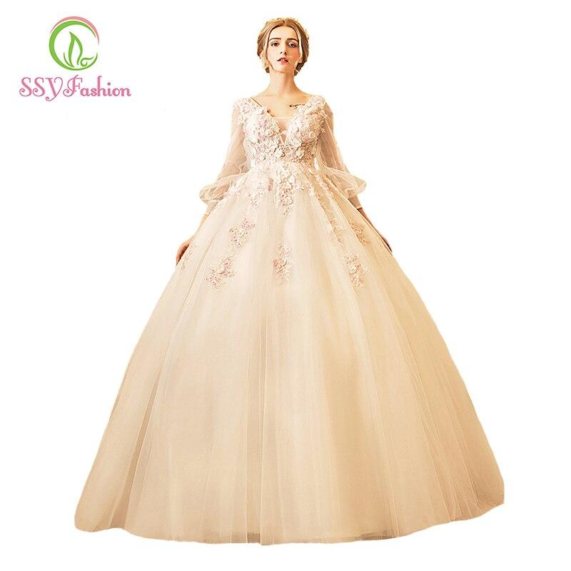 Ssyfashion Long Sleeve Wedding Dresses The Bride Elegant: SSYFashion 2017 New High End Wedding Dress The Bride