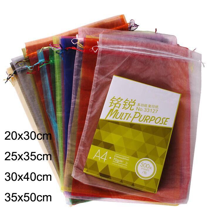 100pcs/lot 20x30, 25x35, 30x40, 35x50cm Large Size Big Organza Bags Drawstring Pouches For Christmas Wedding Gift Packaging Bag