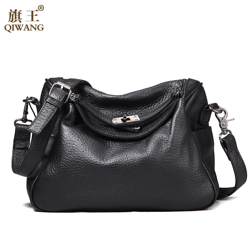 ФОТО QIWANG Brand 2017 New Black Small Genuine Leather Bag Head Layer Cowhide Leather Female Bag Women Handbag Shoulder Bag