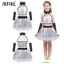 db3867bbbe IEFiEL dla dzieci dziewczyny Jazz taniec nowoczesny Tutu kostium taneczny  strój baletowy świecący cekiny berbeć dziewczyny
