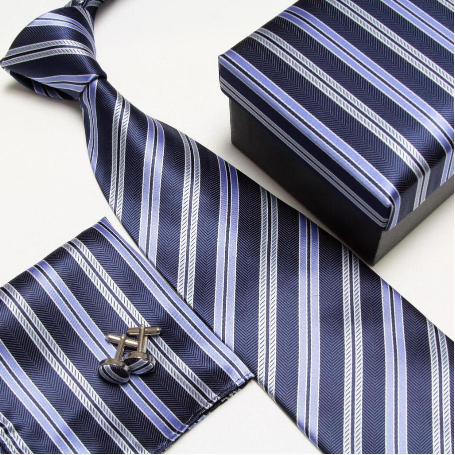 HOOYI 2019 Striped Neck Tie Set Pattern Neck Ties Cuff Links Cufflinks Hanky Handkerchiefs Gift Box