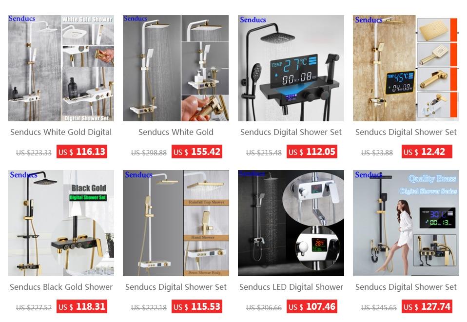 HTB1K9dKUbvpK1RjSZPi762mwXXab Senducs Digital Bathroom Shower Set Fashion White Gold Shower Series Quality Brass Bath Shower Faucet Temperature Shower Set
