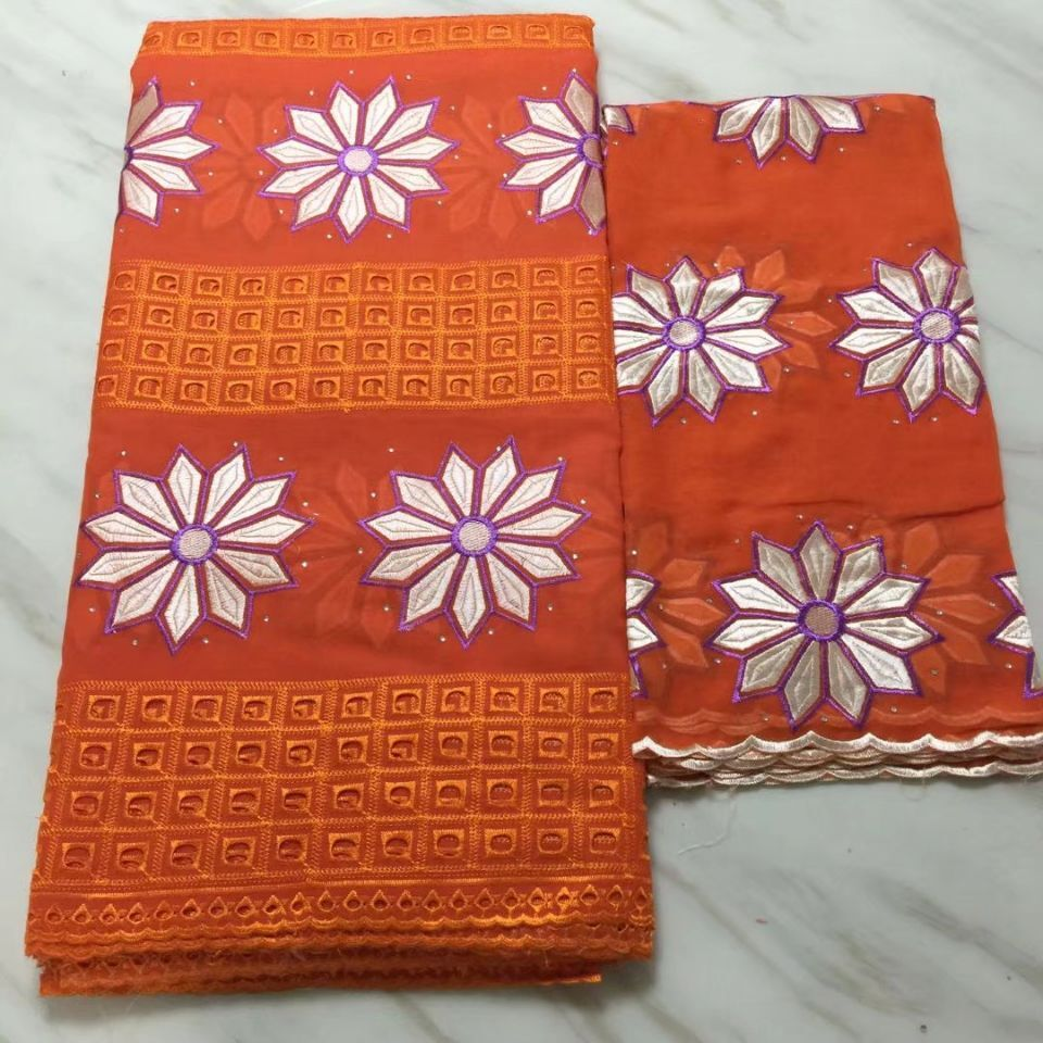 5Yards Beautiful orange african cotton fabric with white flower embroidery and 2Yards french net lace set for dress BC39-95Yards Beautiful orange african cotton fabric with white flower embroidery and 2Yards french net lace set for dress BC39-9