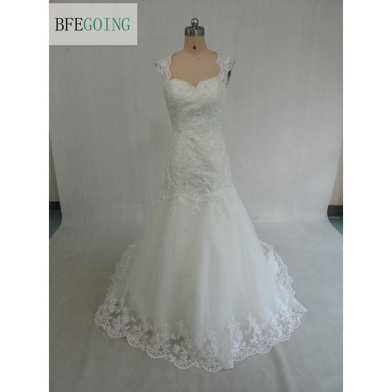 Ivory Tulle Backless Sweetheart Mermaid/Trumpet Wedding dress Floor length Court Train Straps Appliques Beading