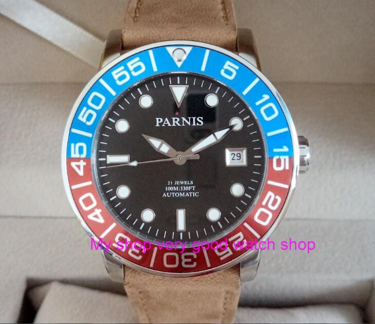 42MM <font><b>PARNIS</b></font> 21 jewels Japanese 821A automatic Self-Wind Mechanical watches Sapphire Crystal <font><b>10Bar</b></font> luminous men's watch 49sy image