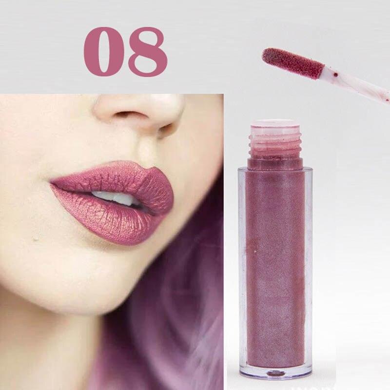Women Fashion Glitter Lipstick Diamond Shine Lips Makeup Metallic Matte Lip Stick Lasting Waterproof Lipsticks 10