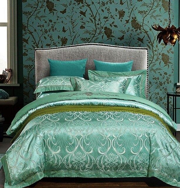 luxe bleu vert ensemble de literie satin jacquard couvre lit europeenne brode housse de couette