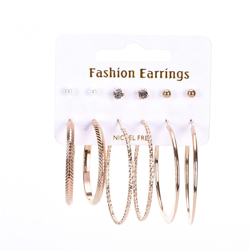 Jewelry & Accessories Active 6 Pairs/set Super Value Street Fashion Party Nightclub Exquisite Temperament Pearl Crystal Big Circle Hoop Earring Set Women Top Watermelons Hoop Earrings