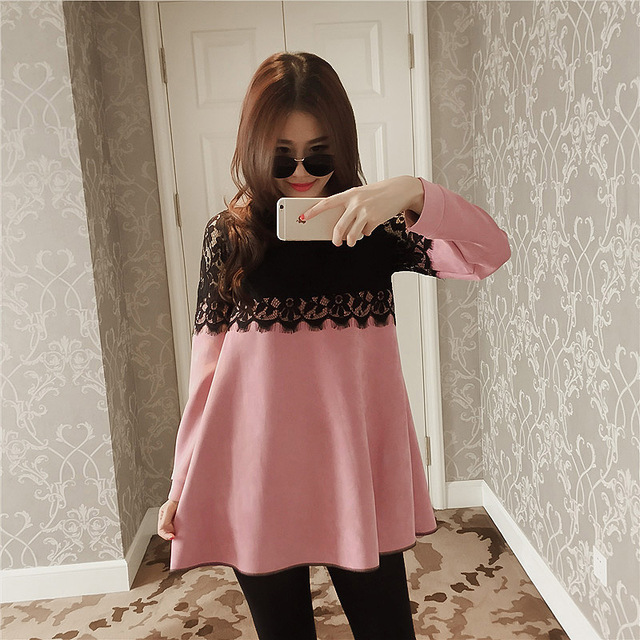 Korean Fashion Maternity Dress for Pregnant Plus Size Maternity Vestidos Pink Lace Dress Maternity-dress Long Coat  Autumn M-XL