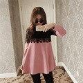 Moda coreano Vestido de Maternidade para Mulheres Grávidas Plus Size Vestido de Maternidade Vestido de Maternidade Vestidos de Renda Cor de Rosa-vestido Longo Outono Casaco M-XL