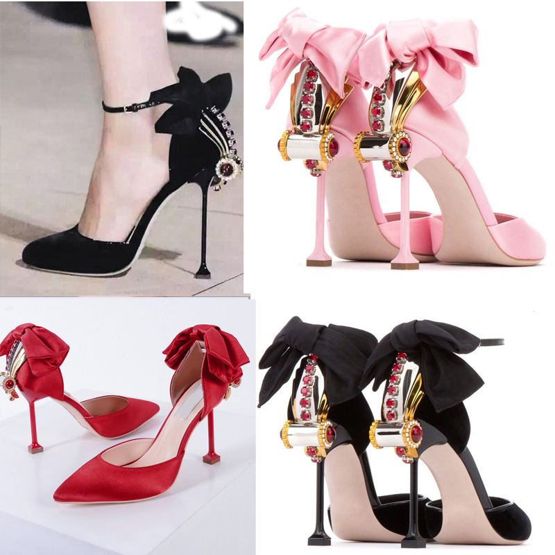 big bow tie red high-heeled shoes thin heel sandals nice crystal round toe shoes female summer pumps wedding bride woman shoes fashion big flowers pink bride high heeled shoes waterproof taiwan fine with hollow wrist dress shoes wedding shoes sandals