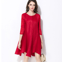 Changpleat 2018 Spring Loose High End Women Dress Miyak Pleated Solid O Neck Large Size Red