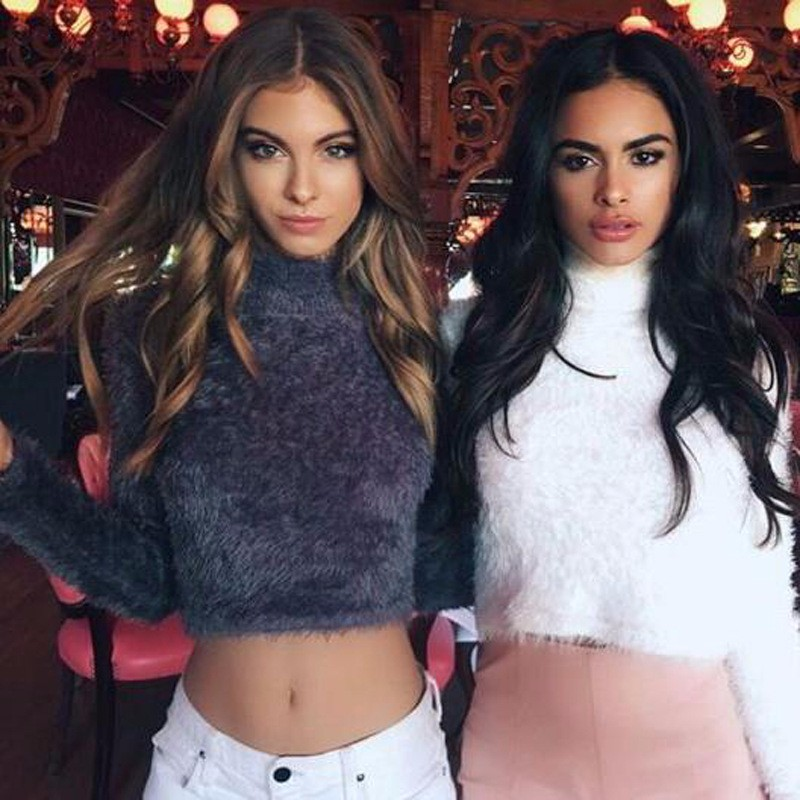18 New Autumn and Winter Women Wool Cropped Jumpers Fluffy Mohair Sweater Mujer Pullover Sweaters Crop Top Black Pink 1
